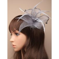 Silver Fabric Mesh Hair Flower Lily Feather Fascinator on hair clip brooch pin