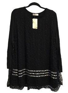 *NWT* Ladies Size 18-20 Long Sleeve, Black w/Lace Mesh Overlay, Longline Tunic