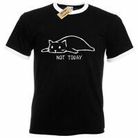 Not Today T-Shirt Cat funny lazy sleepy kitty Mens Ringer