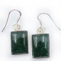 Jade Ohrhänger echt Silber 925 Ohrringe eckig Sterlingsilber modisch grün rts