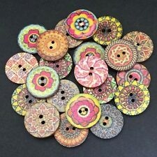 60 20mm RUSTIC WOOD BUTTONS - RANDOM MIX - CRAFT - SCRAPBOOK - SEW - CARDMAKING