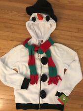SNOWMAN Unisex Hoodie Jacket Zip-Up Top Hat Scarf Carrot Nose * Sz Small* NWT