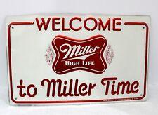 Vintage 1982 Miller High Life Beer Metal Sign, Welcome To Miller Time