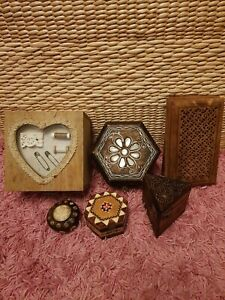 Joblot Bundle 6 Wood Jewellery Storage Boxes Decorative Home Deco Vintage Style