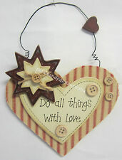 New Hanging Heart Do All Things With Love Rustic Country Style Wall Hanger