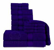 100% Cotton 12PC Bath Towel Set Hotel Quality Long Stapled  600 GSM NAVY