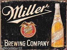 Miller Brewing Company Beer Bottle Pub Bar Vintage Weathered Metal Tin Sign 1649