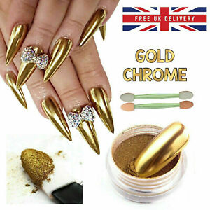Nail Pigment Gold Dust Mirror Chrome Effect Shine Nail Powder Art Brush Manicure