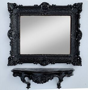 Wall Mirror Rectangular With Console Black Bathroom Mirror Tray 56X46 Baroque