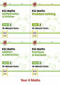 BRAND NEW KS2 YEAR 4 MATHS AGES 8-9 4 BOOK BUNDLE MULTIPLICATION FRACTIONS ETC