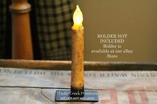 """Primitive Country Burnt Ivory 6"""" - 6.5"""" TIMER Battery Operated LED Taper Candle"""