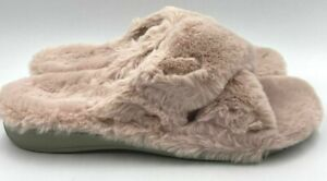 """Vionic """"Indulge Relax"""" Blush  Plush Pink Open Toe Orthotic Support Slippers 12"""