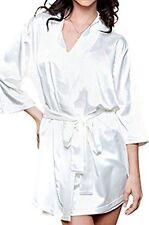 4 Piece Lingerie White Satin Kimono/Babydoll/Negligee/Robe Set & G-String 12-14