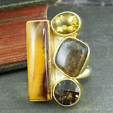 Arya Gold Over Sterling Silver Brown Multi-Stone Ring