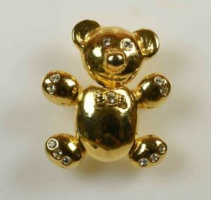 Lovely Teddy Hermann Gold Tone Brooch
