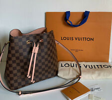 NEW LOUIS VUITTON LV NEONOE DAMIER EBENE MM VENUS PINK BUCKET SLING SHOULDER BAG