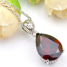 Mother's day Gift Fire Red Garnet Gems Platinum Plated Drop Necklaces Pendants