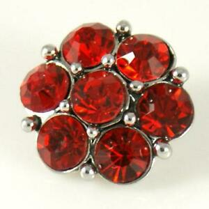 Noosa Chunks Ginger Style Snap Button Charms Red Crystal Flowers 20mm NEW