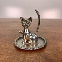 Silver Plated Cat Ring Holder Jewelry Trinket Dish, Nice condition! Hong Kong