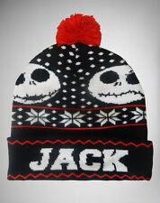 Disney JACK SKELLINGTON Pom BEANIE Nightmare Before Christmas UGLY SWEATER HAT