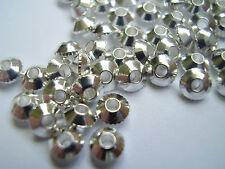 50 MINI SILVERTONE metallo Bicone spaziatore Beads 4mm