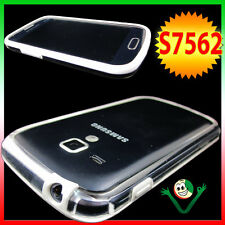 Pellicola+Custodia BUMPER p Samsung Galaxy S Duos S7562 trasparente bordo BIANCO