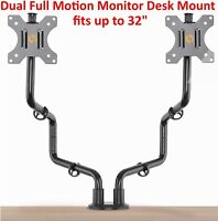 """Dual Full Motion VESA Monitor Desk Mount Heavy Duty Double Arm Fits up to 32"""""""