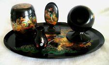 Vintage Asian Black Lacquerware 5 Piece Desk/Smoking Set Dragon Foochow