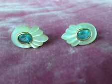 STYLISH 14K GOLD MOTHER OF PEARL AND AQUAMARINE EARRINGS