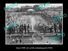 OLD LARGE HISTORIC PHOTO OF JUNEE NSW, VIEW OF THE TOWN SWIMMING POOL c1930