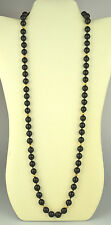 14K YELLOW GOLD 9.9 MM ONYX BEAD 31.5 INCH NECKLACE W/ 4.8 MM GOLD SPACER BEADS