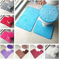 3Pcs/Set Home Bathroom Non-Slip Pedestal Rug+Toilet Lid Cover+Bath Mat Washable