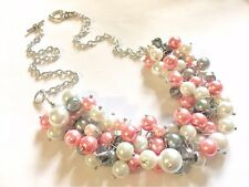 Pink Gray White Cluster beaded Necklace Pearl Bridesmaid Statement ChunKy Bib