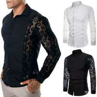 Mens Crochet Flower Lace Long Sleeve Shirt Blouse Top Party Wedding Slim Casual