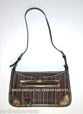 LIZ CLAIBORNE DESIGNER HANDBAG MULTI COLOR MICRO WEAVE GOLD PVC LEATHER –NEW $44