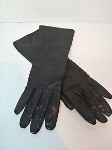 "Japan Modern Long Black Leather Gloves RN 21246 Rayon lining 13""L"