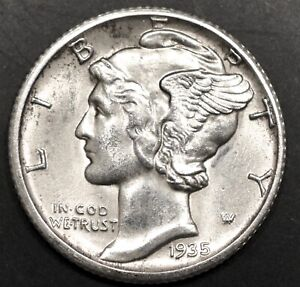 1935 S 90% Silver BU Uncirculated MERCURY DIME #2