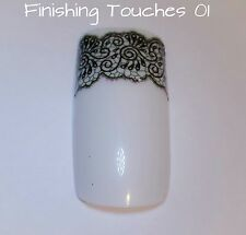 Nail Art Water Transfer- Lace Decal #163 BLE1507 Sticker Matte Black Flower