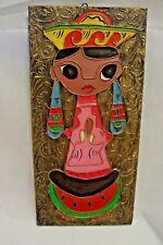 Vintage Colorful Big Eyed Girl Embossed Oil Painting