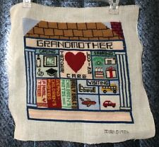 "VINTAGE GRANDMOTHER'S HOUSE NEEDLEPOINT EMBROIDERY SAMPLER COMPLETED 12"" X 12"""