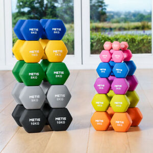 METIS Neoprene Hex Dumbbells [1-22lbs] | GYM/HOME HAND WEIGHTS Workout (Pair)