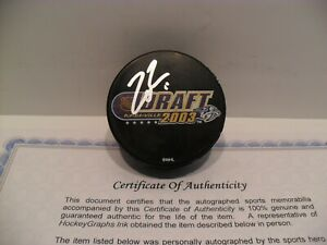 Zach Parise Autographed Signed 2003 NHL Draft Puck COA Minnesota Wild NICE!!