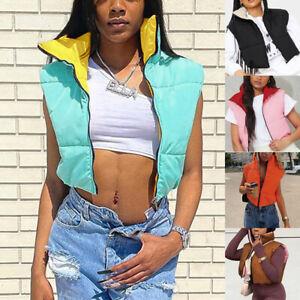 Womens Reversible Sleeveless Zip Up Cropped Waistcoat Vest Jacket Coat Outwear