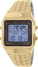 Casio World Time Map Gold-Tone Stainless Steel Digital Watch A500WGA-9D