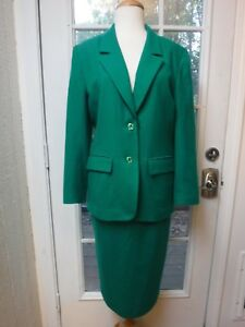 Pendleton Green 100%Virgin Wool Classic Fit Skirt Suit Women 8