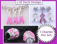 3 Unique Pink Ribbon Breast Cancer Awareness .925 Silver Charms