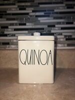 "Rae Dunn Ceramic Rectangle  ""QUINOA"" Canister---Brand New!"