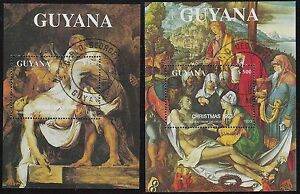 Guyana- Scott 2749f & 2749g- Descent from the Cross, CTO Christmas Sheets 1993