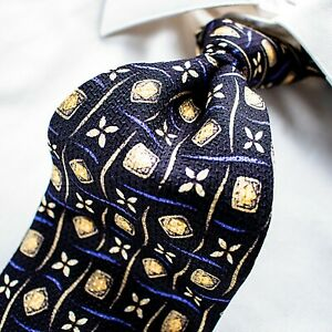 "ROBERT TALBOTT ""Studio""  Black with Yellow, Blue and Ivory Geometric Tie"