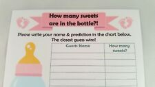 Baby Shower 22 Player Game card - Guess how many sweets in the baby bottle?
